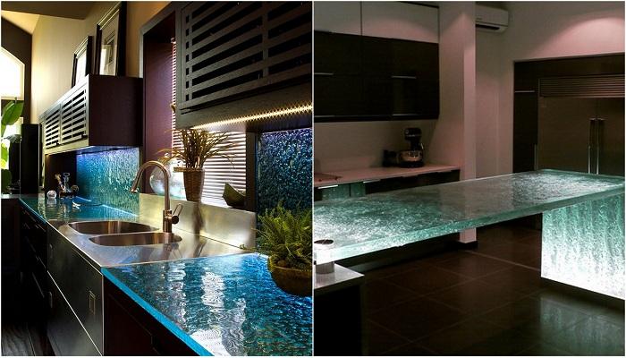 Примеры красивых стеклянных столешниц для кухни.