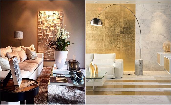 Примеры оформления интерьера с золотыми акцентами.