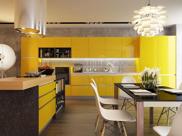 Невероятно потрясающее решение оформить интерьер кухни в ярко-желтых тонах, что точно понравится и создаст невероятное настроение.