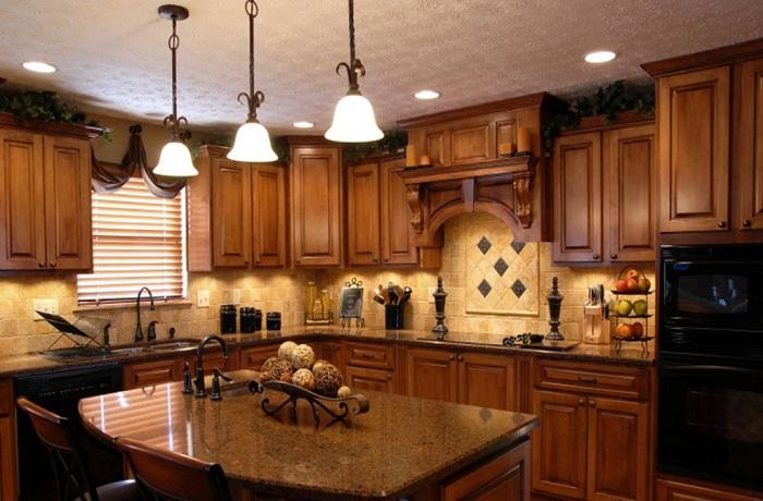 Весьма прекрасное решение оформить кухню в деревянных тенденциях, что станет просто отменным решением для оформления такого плана помещения.