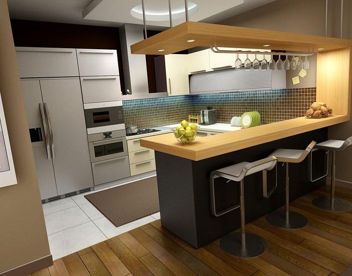 Барная стойка на кухне - прекрасное решения для любителей вечеринок
