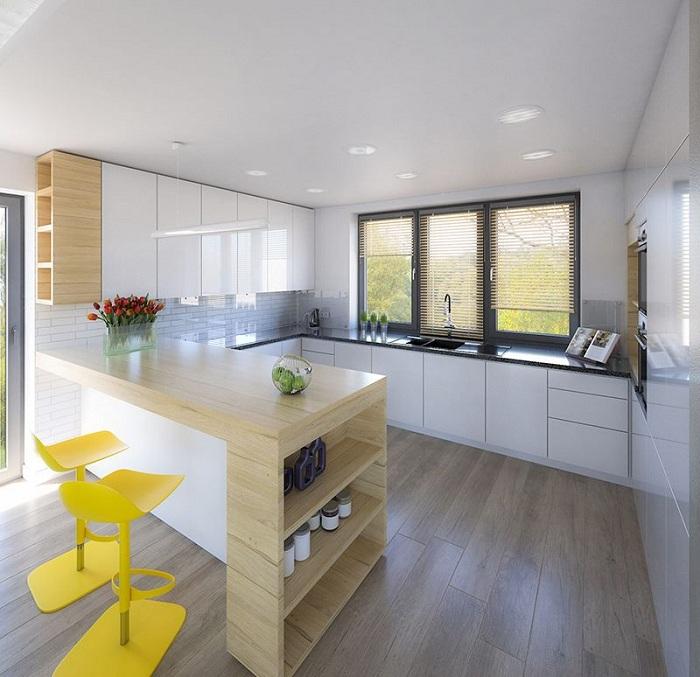 Жёлтые стулья - яркий интерьер на светлой кухне.