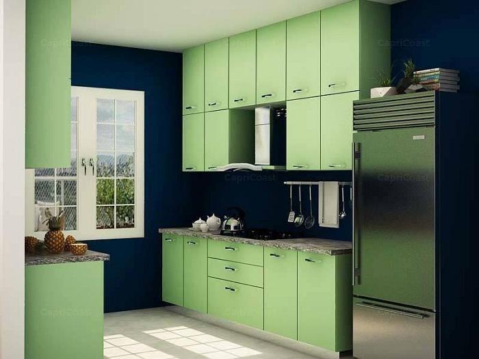 Интересное цветовое решение для кухни небольшой площади.
