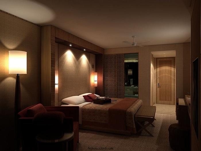 Спальня с приглушенным светом, но, тем не менее, прекрасными светильниками над постелью, что позволит читать любимые книги в ней.