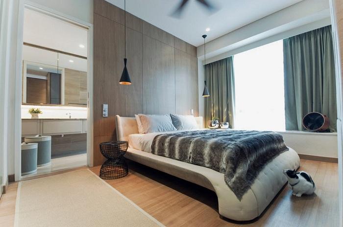 Прекрасное оформление места для отдыха, при помощи светильников, которые создают отличную атмосферу для чтения книг в постели.