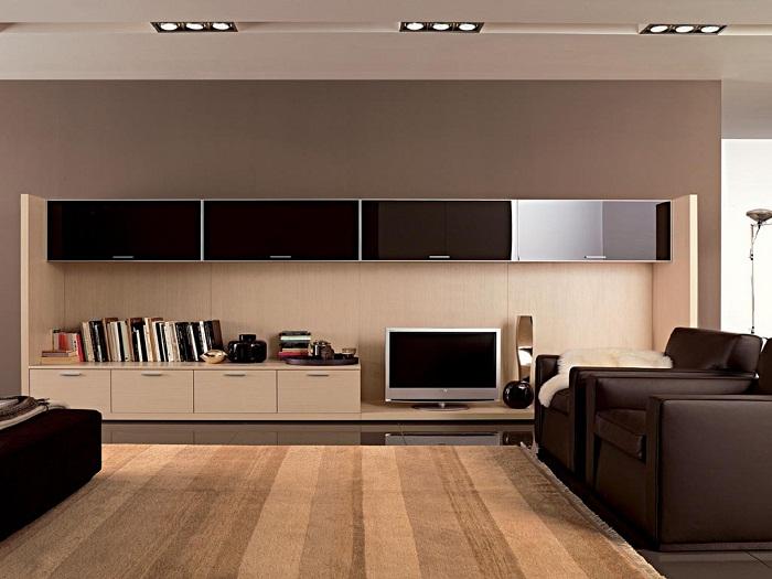 Интересный интерьер гостиной оформлен при помощи прямых линий, что создаст просто необыкновенную обстановку.