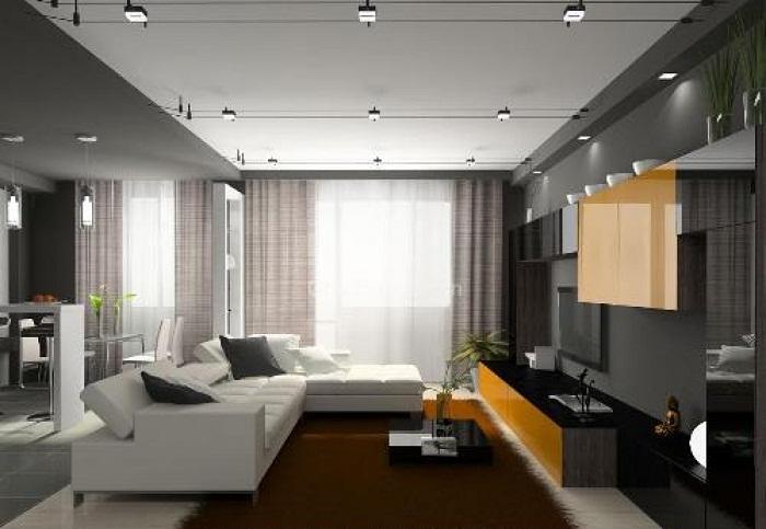 Интересное сочетание различных серых оттенков, что станет просто самым лучшим решением для оформления гостиной в современных тенденциях.