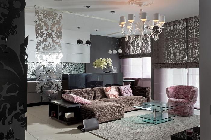 Пожалуй, одно из самых лучших решений, так это создать оригинальный интерьер гостиной благодаря добавлению необыкновенных узоров.