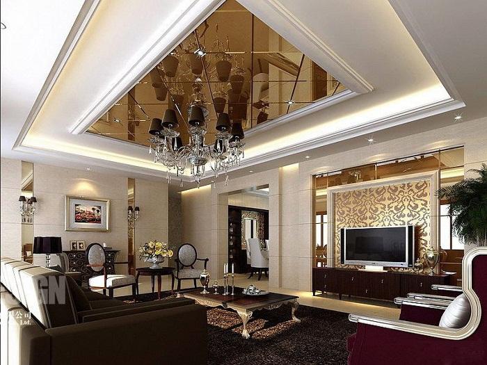 Современный и очень богатый интерьер гостиной, что выглядит очень дорого и богато.
