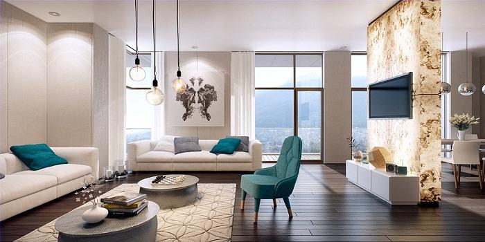 Просторы гостиной дополнены оригинальными бирюзовыми нотками, что вдохновят по максимуму.