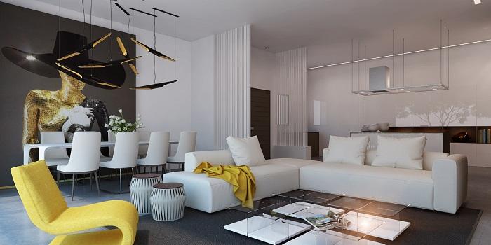 Крутой интерьер в белых тонах с добавлением желтых бликов, что преобразят и легко трансформируют интерьер такой комнаты.