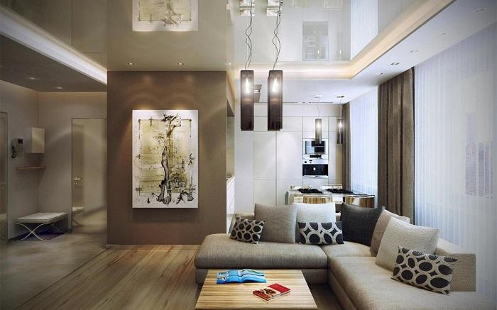 Крутые решения для интерьера гостиной в стильных коричневых оттенках, что порадуют глаз и впечатлят современными тенденциями.