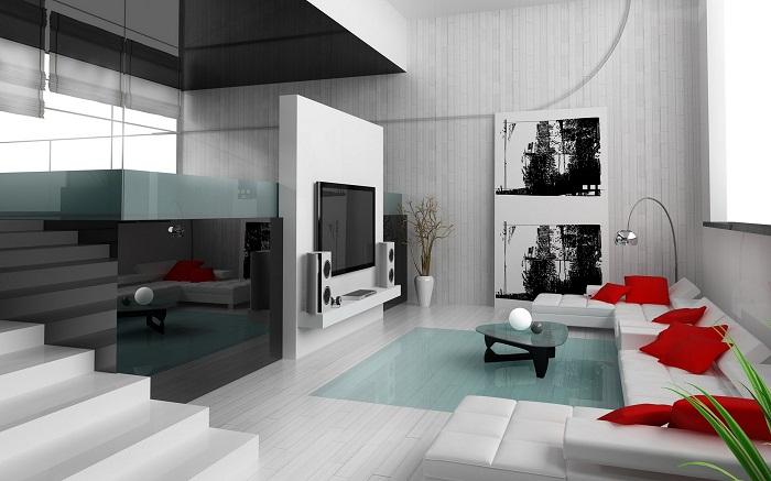Оформить гостиную возможно при помощи добавления интересных стеклянных элементов, что порадуют глаз и впечатлят.