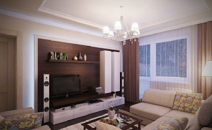 Симпатичное и удачное решение для преображения интерьера гостиной при помощи крутых решений в цветовой гамме, что подарят только положительные эмоции.