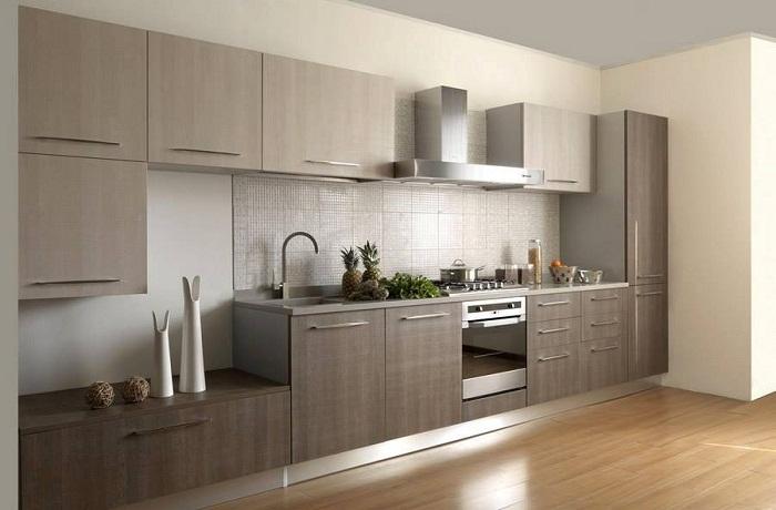 Вариант создать интерьер кухни в сдержанных, пастельных тонах.