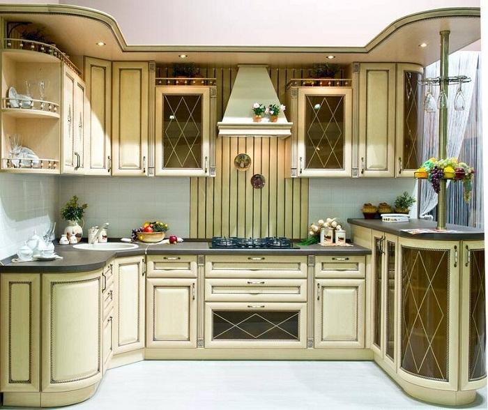 Крутое решение создать такую оригинальную современную кухню в светлых тонах.