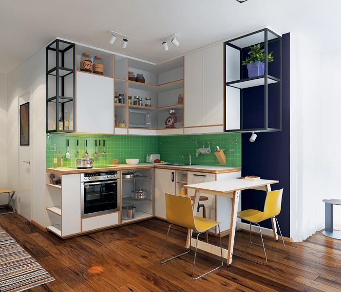 Интерьер кухни оформлен в минималистских тенденциях.