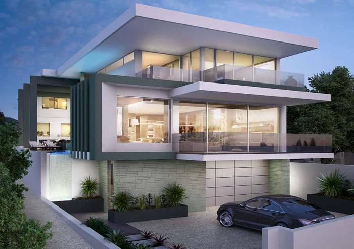Прекрасный дизайн дома в современном стиле, который является сборной конструкцией.