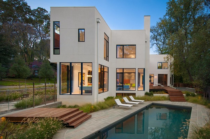 Хороший проект модульного дома с бассейном - отличное решение для дизайна дома.