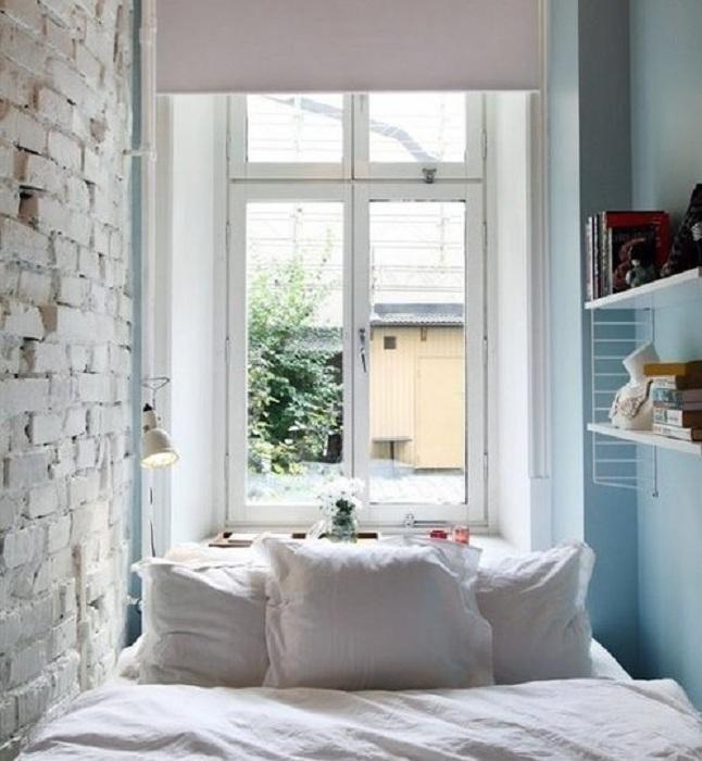 Что может быть еще прекрасней чем оформление маленькой в спальне в прекрасных светлых тонах, что вдохновит.
