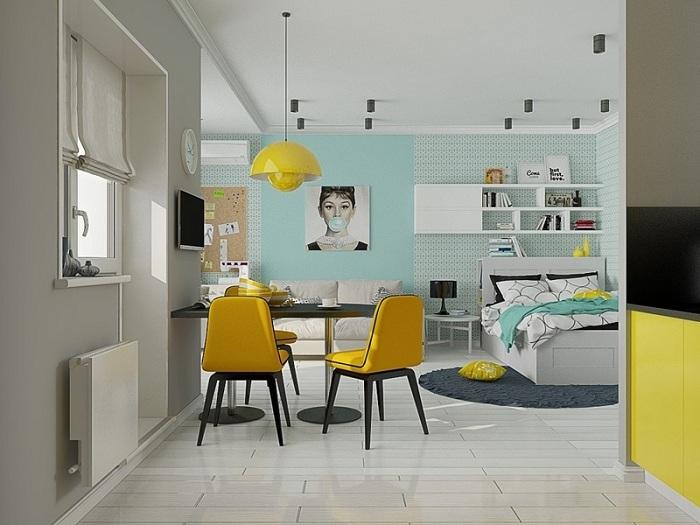Спальня, оформленная в сочетании <i>мятный</i> со спектрами мятного и желтого, - это модное решение для смелых персон.