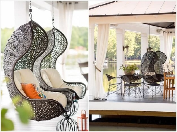 Симпатичные и необыкновенные стулья подвешены на воздухе, станут прекрасным вариантом оформления интерьера комнаты.