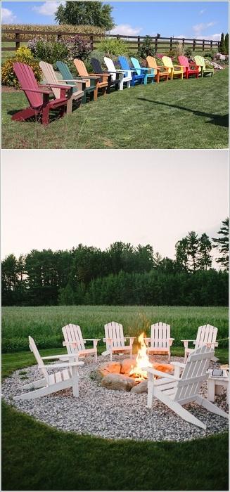 Милое настроение смогут подарить яркие стулья, которые подобраны совершенно в разных цветах.