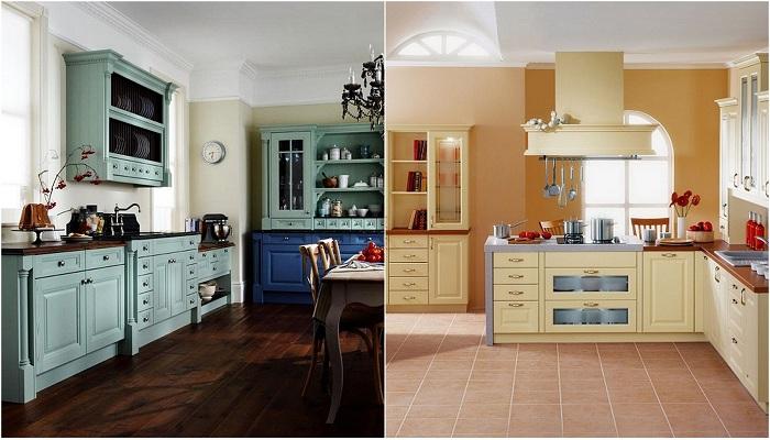 Красивые окрашенные шкафы, которые удачно впишутся в интерьер любой кухни.
