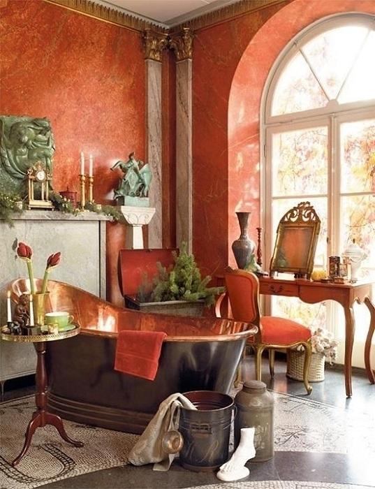 Любителям всего винтажного подойдет туалетная комната, выполненная в темно-персиковом цвет.