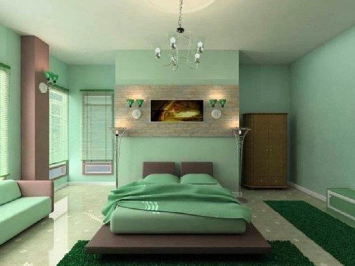 Приятные мятные цвета в интерьере, который станет просто отличным вариантом оформления спальни.
