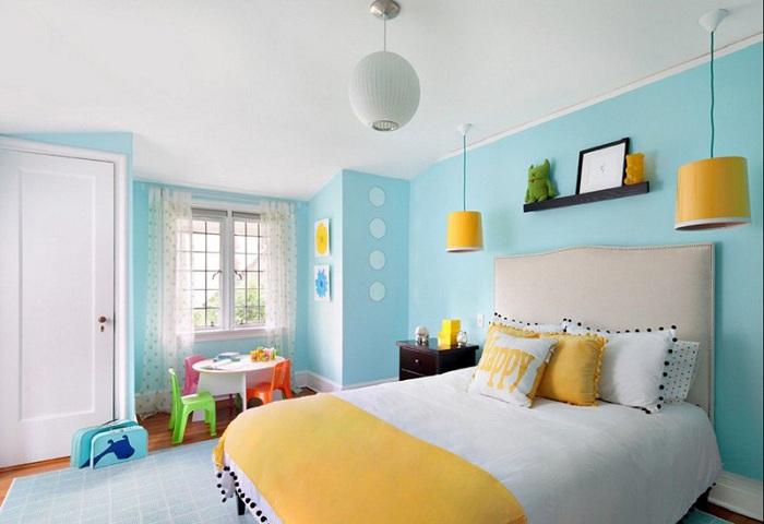 Крутое решение для оформления свежего интерьера в желто-голубом цвете, создаст легкое и спокойное настроение.