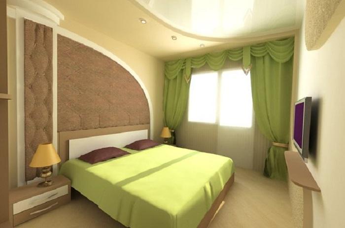 Светлая спальня в салатовом цвете, то что создаст массу положительных эмоций и самое лучшее настроение.