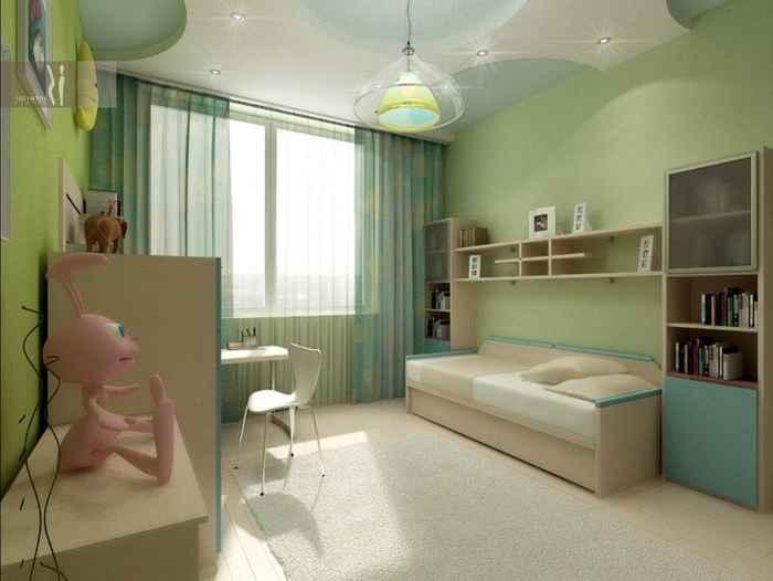 Крутое решение оформить комнату для детей в приятных и спокойных зеленоватых оттенках, что создадут благоприятную обстановку.