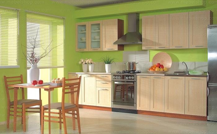 Яркий салатовый интерьер на кухне может стать просто оптимальным и очень оригинальным для оформления комнаты подобного типа.