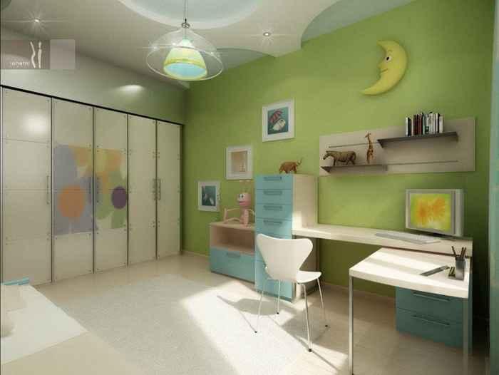 Симпатичное оформление детской комнаты в нежных зеленоватых тонах, то что понравится определенно.