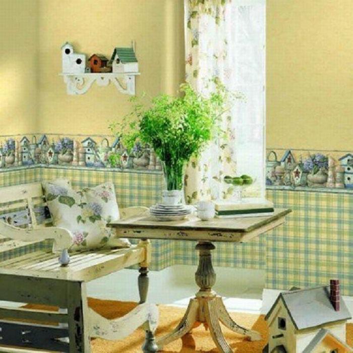 Интересный интерьер комнаты в клеточку салатового цвета, то что создаст необычную обстановку.