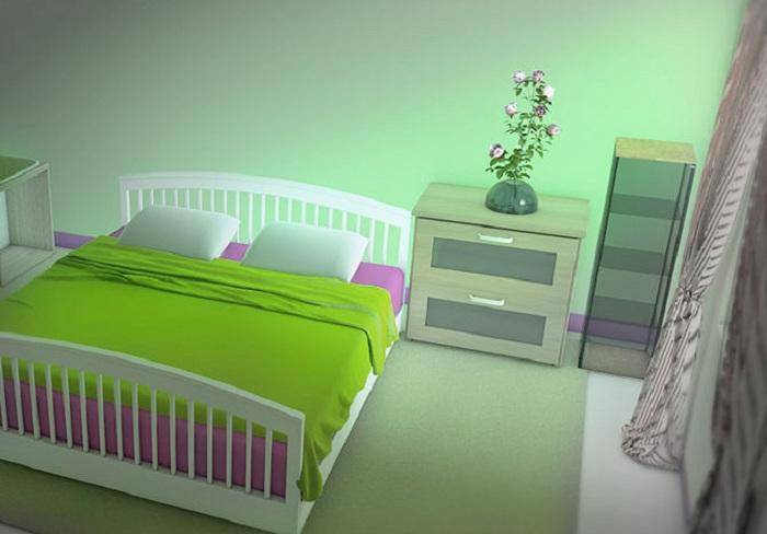 Симпатичный и яркий интерьер в спальне позволит создать прекрасную обстановку и улучшить условия жизни.