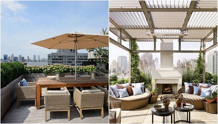 Интересные открытые площадки на крыше домов - летняя тенденция.