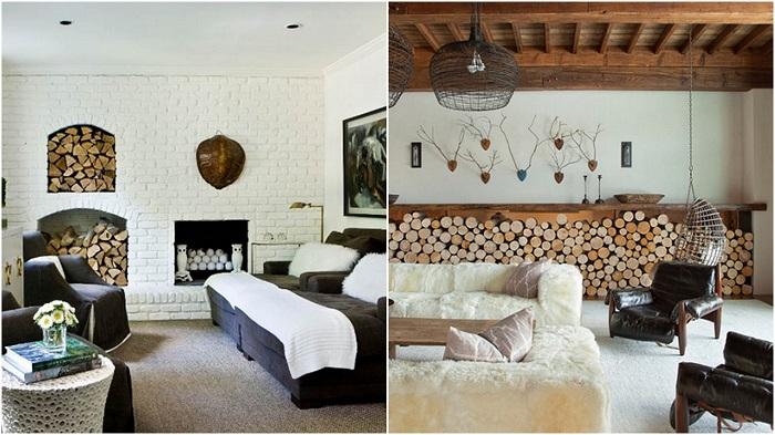 Примеры хранения дров в гостиной.