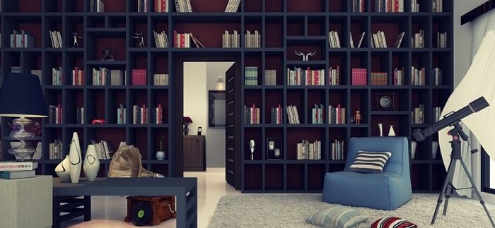 Книжный шкаф в темных тонах с потайной дверью, которая очаровывает.