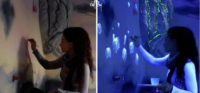 Морское светящееся дно на стене комнаты, очарует и подарит положительные эмоции.