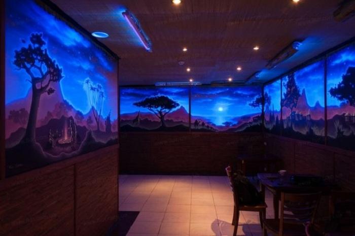 Расширение пространства комнат за счет изображения на стенах интересной и яркой пустыни.