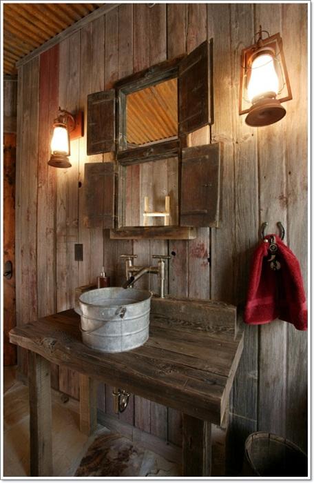 Симпатичный интерьер ванной комнаты, которая оформлена в дереве и понравится всем.