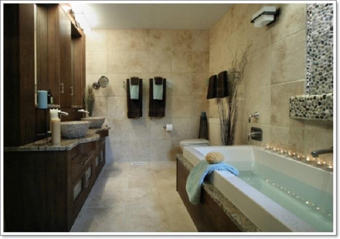 Немного холодная, но волшебная обстановка в ванной комнате, которая создана в рустикальном стиле.