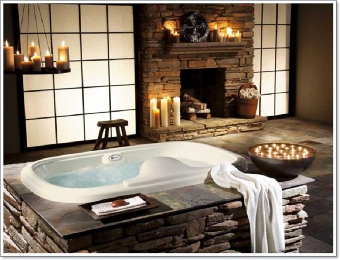Романтическая и уютная обстановка в ванной комнате, которая создана благодаря рустикальному стилю в котором она оформлена.