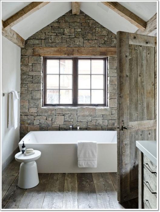 Необыкновенный интерьер ванной комнаты станет просто отличной находкой при оформлении такого плана помещения.