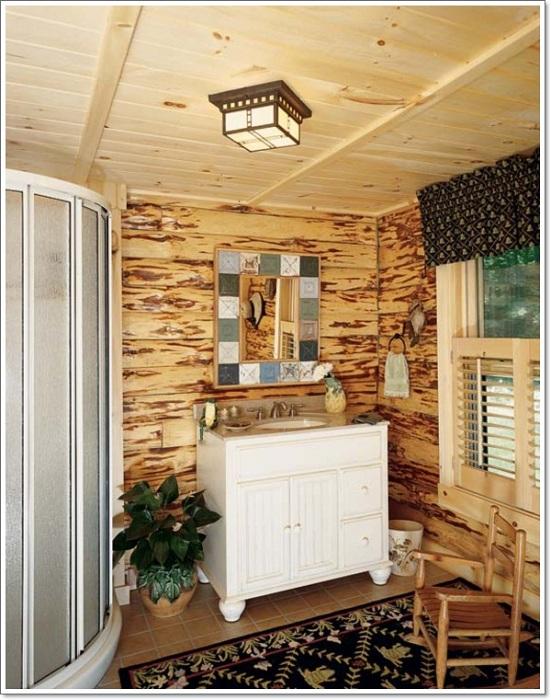 Рустикальный стиль ванной комнаты станет просто отличным вариантом оформления оформления такой комнаты.