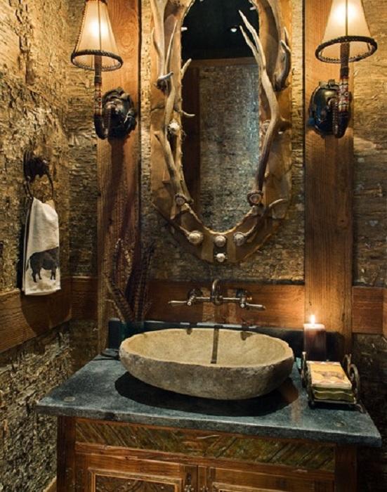 Красивый вариант оформления ванной комнаты в крутом рустикальном стиле, который станет просто отличным.