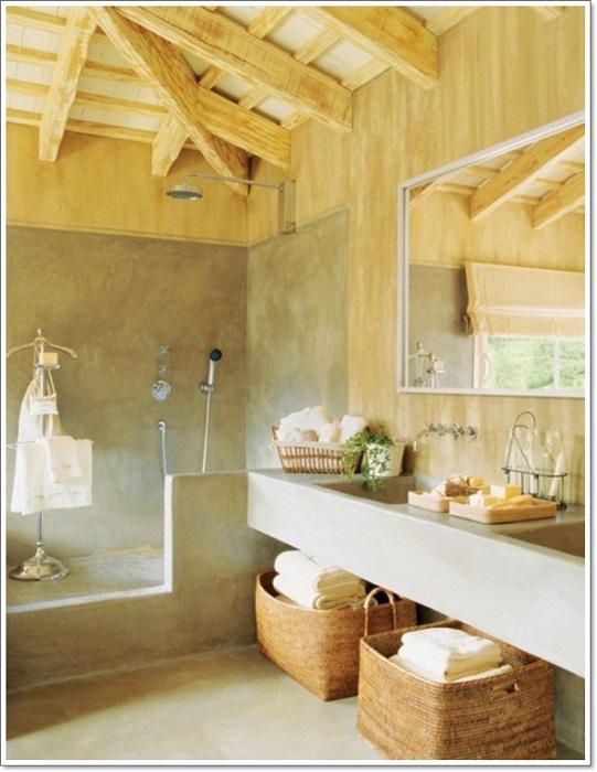 Необыкновенно красивое оформление ванной комнаты с добавлением деревянных элементов, то что определенно порадует глаз.