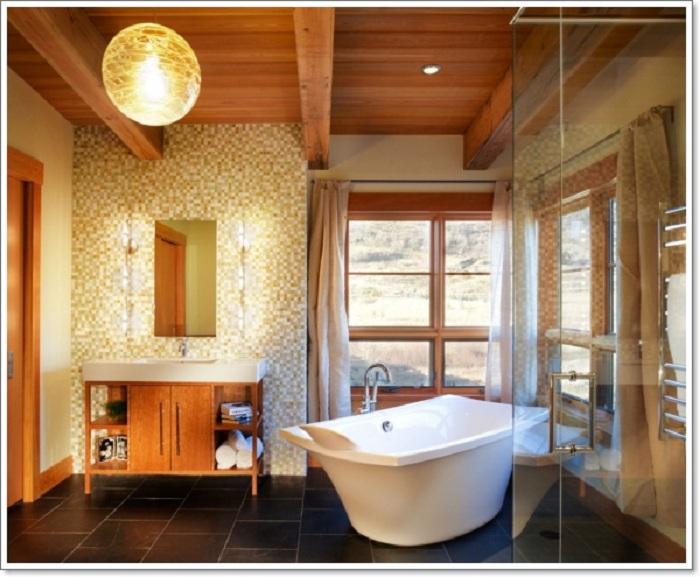 Симпатичное решение оформить ванную в максимально теплых и уютных тонах, то что успокоит.